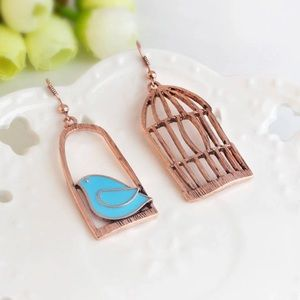 NEW Bird and Cage Cute Earrings